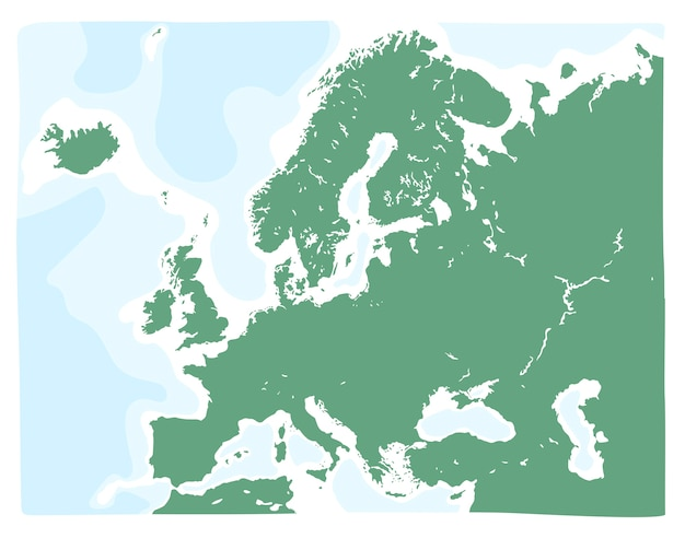 Hand drawn vector map of europe in green color