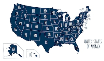 Hand drawn vector map of the United States of America.