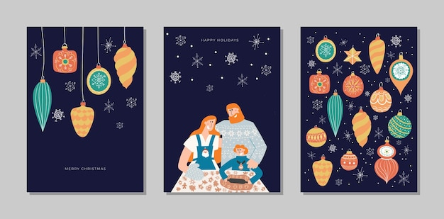 Hand drawn vector merry christmas and happy new year cards collection set