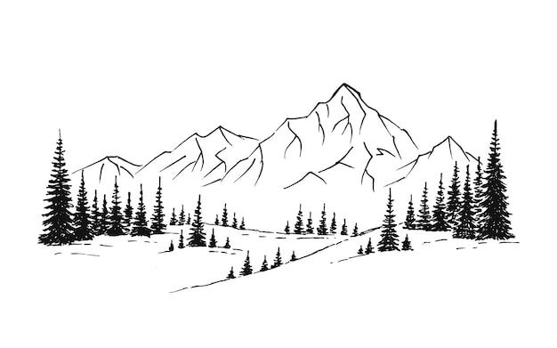 Нарисованная рукой иллюстрация природы вектора с горами и лесом на первом взгляде. использование для путешествий и природы фона и карты.