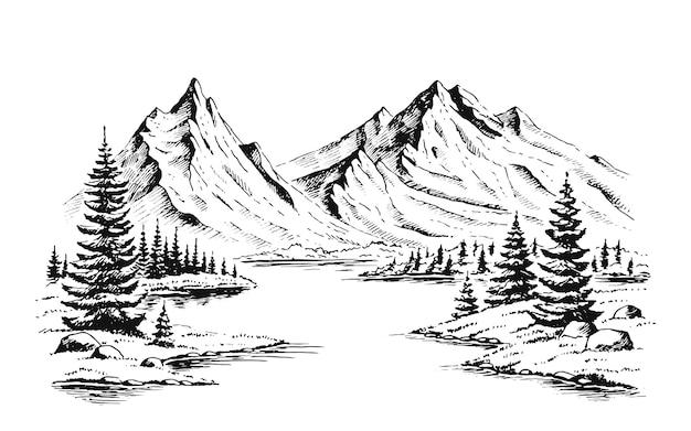 山と森の手描きベクトル自然イラスト。
