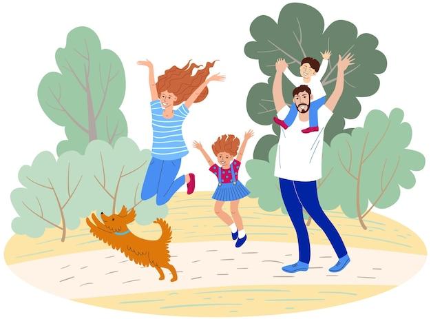 公園を歩いている幸せな家族ママお父さん姉妹と兄弟と犬の手描きベクトル