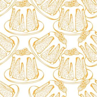크리스마스 디저트 케이크 과자와 함께 완벽 한 패턴의 손으로 그린된 벡터