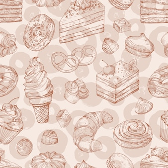 Hand drawn vector pastries, bakery, desserts seamless pattern