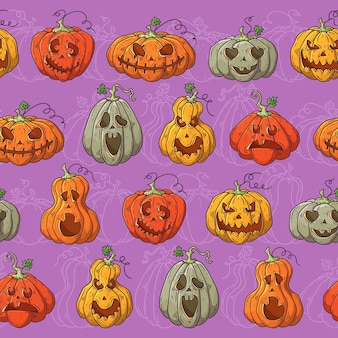 Hand drawn vector pattern with halloween pumpkins.