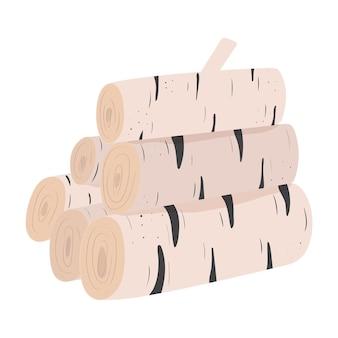 벽난로나 모닥불을 위한 자작나무 통나무의 손으로 그린 벡터 더미