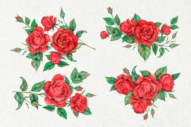 手描きベクトル赤いバラの花セット