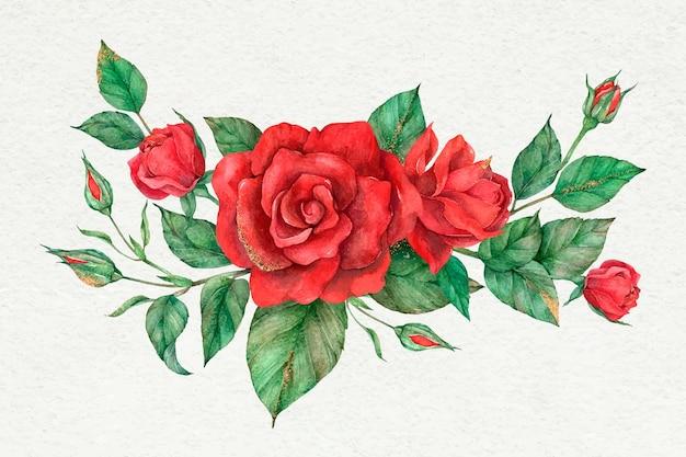 手描きベクトル赤いバラの花