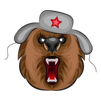 手描きのベクトル轟音クマ。 tシャツのデザイン。野生のグリズリー、怒っている動物の頭のイラスト