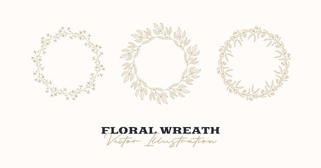 Рука нарисованные вектор круглая рамка цветочный венок с ветвями листьев ягод