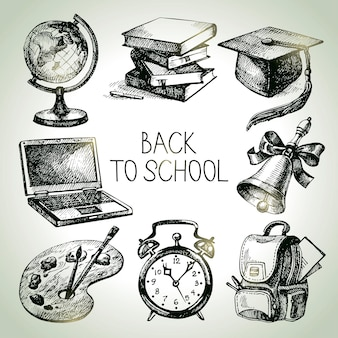 Hand drawn vector school object set. back to school illustrations