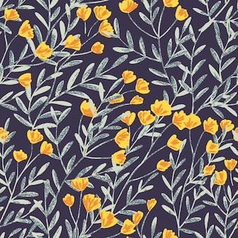 Hand drawn vector seamless background pattern with field flowers and leaves and gentle texture