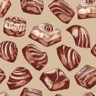Hand drawn vector seamless pattern background with chocolate sweets