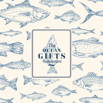 Hand drawn vector seamless pattern. fish package card or cover template with sea bass ocean gifts emblem. herring, anchovy, tuna, dorado, seabass and salmon background.