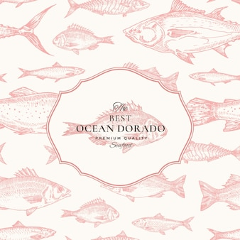 Hand drawn vector seamless pattern. fish package red card or cover template with ocean dorado emblem. herring, anchovy, tuna, dorada, seabass and salmon background.