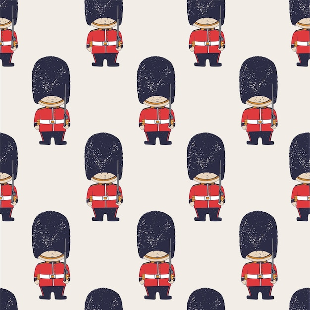 Hand drawn vector seamless pattern of queens guard british army soldiers londoncan