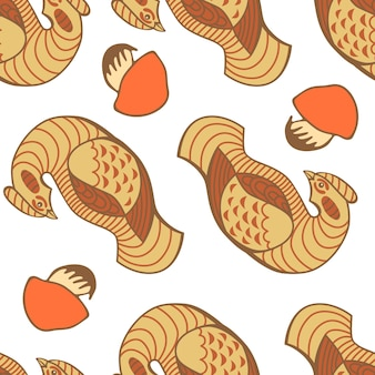 Hand drawn vector seamless pattern with birds and mushrooms isolated on white background