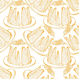Hand drawn vector of seamless pattern with  christmas desserts cakes sweets