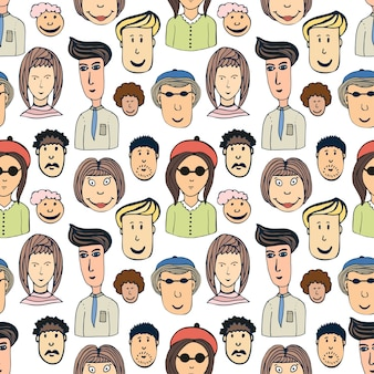 Hand drawn vector seamless pattern with crowd of funny worker peoples. doodle faces background