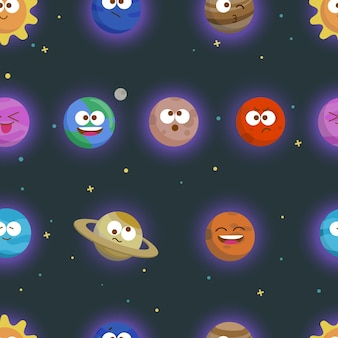 Hand drawn vector seamless pattern with solar system planets