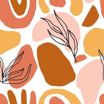 手描きベクトルシームレス繰り返しパターン抽象的な形パステルカラー