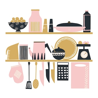 Hand drawn vector set of cute kitchen tools