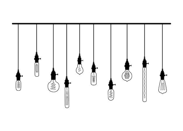Hand drawn vector set of different geometric loft lamps with yellow glow. light bulbs and modern sketch. line vector