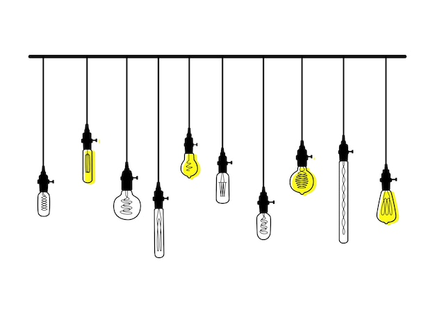 Hand drawn vector set of different geometric loft lamps with yellow glow. light bulbs and modern sketch.