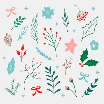 冬の花、葉、果実、背景に分離された枝の手描きベクトルセット。クリスマスと年賀状、招待状、装飾用の冬のコレクション。