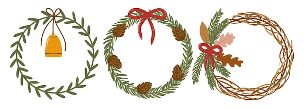 Hand drawn vector set of round spruce wreaths for christmas decoration