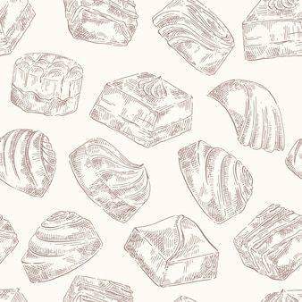 Hand drawn vector sketch seamless pattern background with chocolate sweets