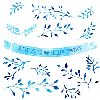 Hand drawn vector watercolor blue branches with leaves set of artistic design elements
