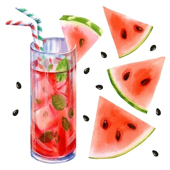 Ручной обращается векторные акварельные иллюстрации летнего лимонадного коктейля с арбузом и мятой