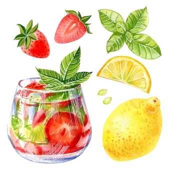 Hand drawn vector watercolor illustration of summer lemonade cocktail with strawberry lemon and mint
