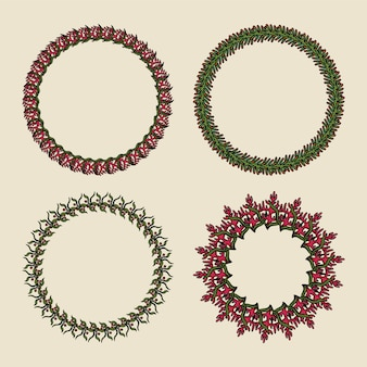 Hand drawn vector wreaths. round botanical ornament on a green background.