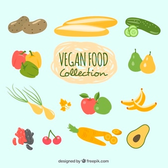 Hand drawn vegan food pack