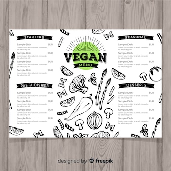 Hand drawn vegan restaurant menu template