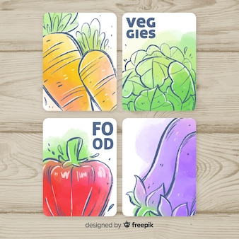 Hand drawn vegetable cards pack