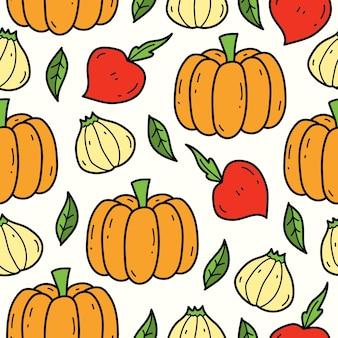 손으로 그린 야채 만화 낙서 패턴 디자인