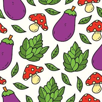 Рисованный овощной мультфильм каракули шаблон дизайна
