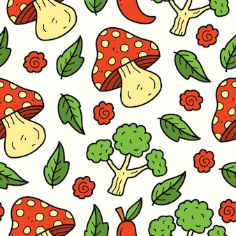 손으로 그린 야채 낙서 만화 일러스트 패턴 디자인