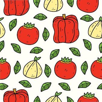 손으로 그린 야채 낙서 만화 완벽 한 패턴 디자인