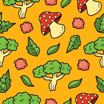 손으로 그린 야채 낙서 만화 원활한 패턴 디자인