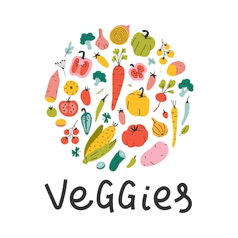 Hand drawn vegetable illustrations arranged in circle with lettering