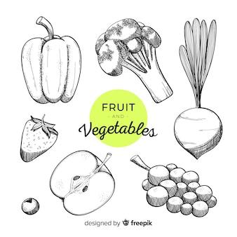손으로 그린 야채와 과일 배경