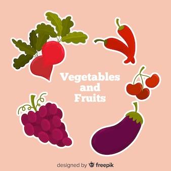 Ручной обращается овощи и фрукты фон