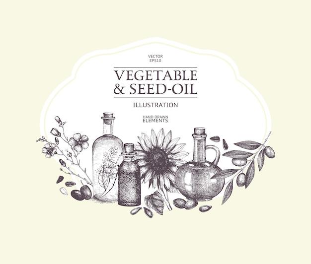 Рисованной овощи и масло семян иллюстрации. иллюстрация винтаж здоровой пищи. декоративный гравированный эскиз масла, изолированный на белом.