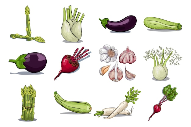 Hand drawn vegetables cartoon set isolated on a white background.
