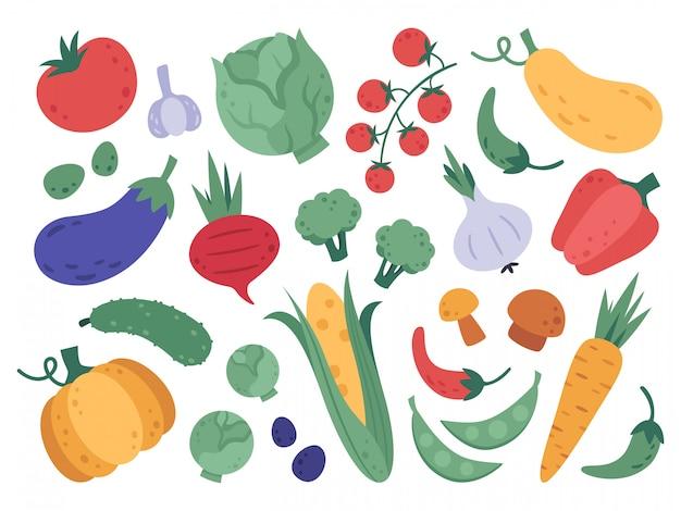 Рисованной овощи. ферма овощей, мультфильм натуральные продукты, свежие продукты и витамины вегетарианская диета. doodle набор органических овощей иллюстрации. полезные детокс брокколи, морковь и огурец
