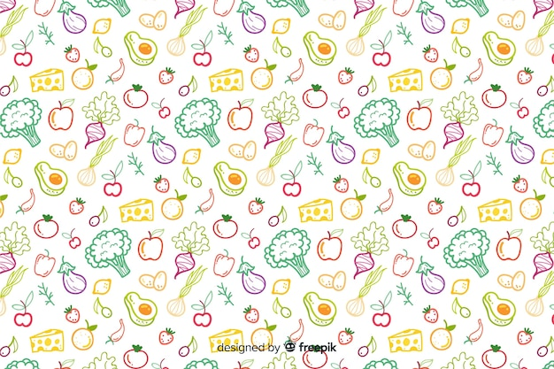 Hand drawn vegetables and fruit pattern
